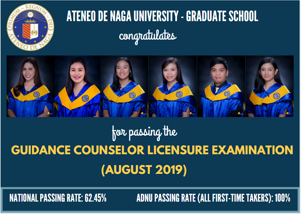ADNU maintains 100% passing rate in the 2019 Guidance Counselor Licensure Exams
