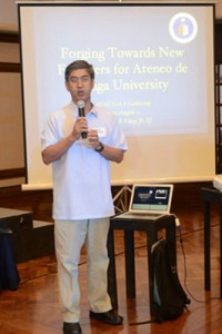 Fr. Primitivo E. Viray, Jr., S.J., University President delivering his presentation which he aptly called Ateneo de Naga University's apostolic dreams.