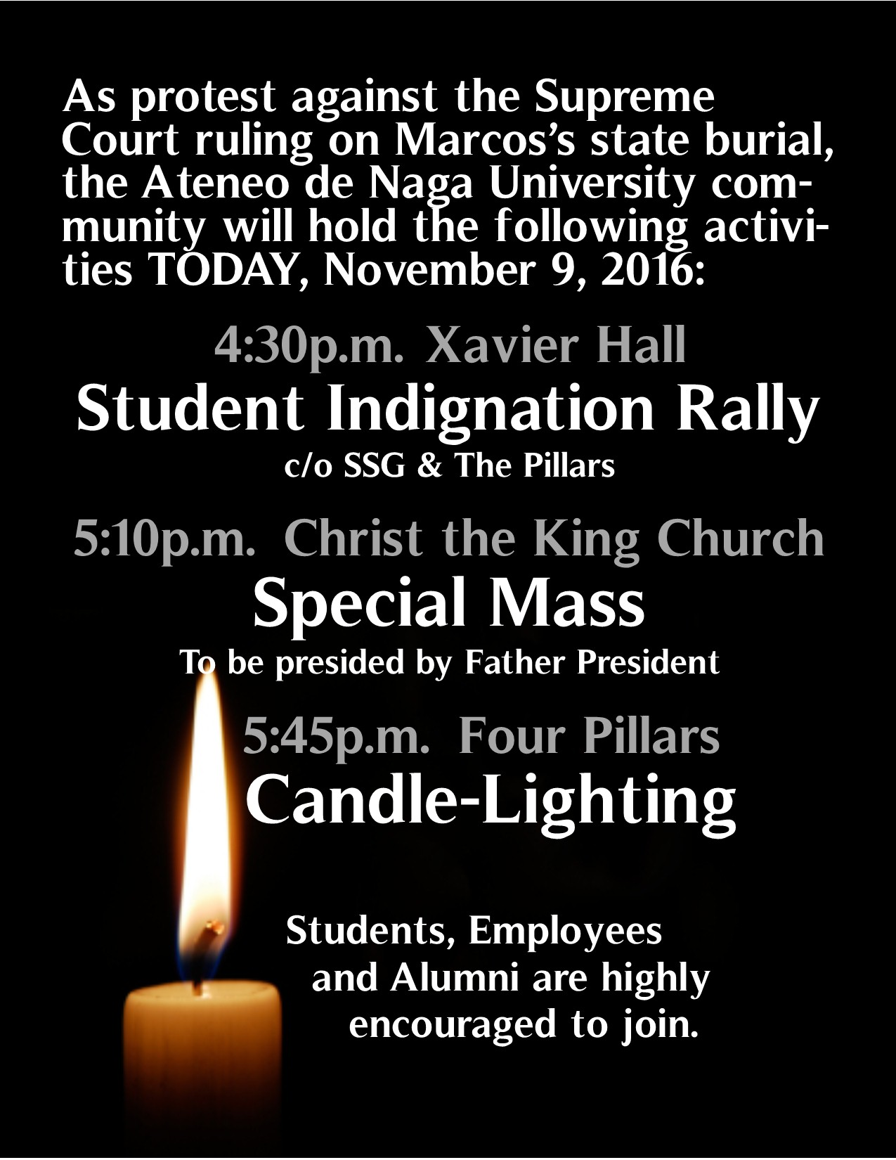 adnu candlelighting protest